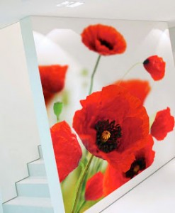 Ritrama's  Ultimate Wall Action print media (shown in the photo above) allows you to print to the edge. No border is needed to prevent edge peel.  there is no need to leave a border when printing anymore! Our Ultimate Wall Action, The 5.0-mil semi-rigid film features an ultra low peel microsphere removable adhesive for short-term applications.