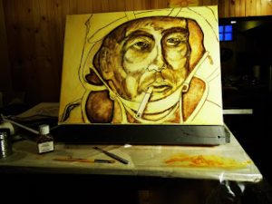 After completing a rough sketch, the canvas was toned with a transparent yellow ochre mixed with a medium and turpentine.